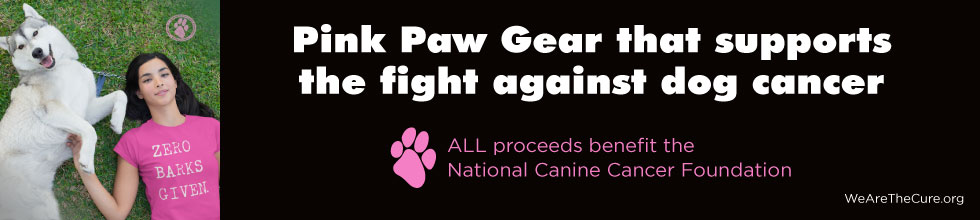 Pink Paw Gear that supports the fight against dog cancer